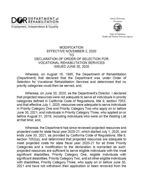 First page of Declaration of Order of Selection for Vocational Rehabilitation Services issued June 30, 2020. Content of this page included in the post.