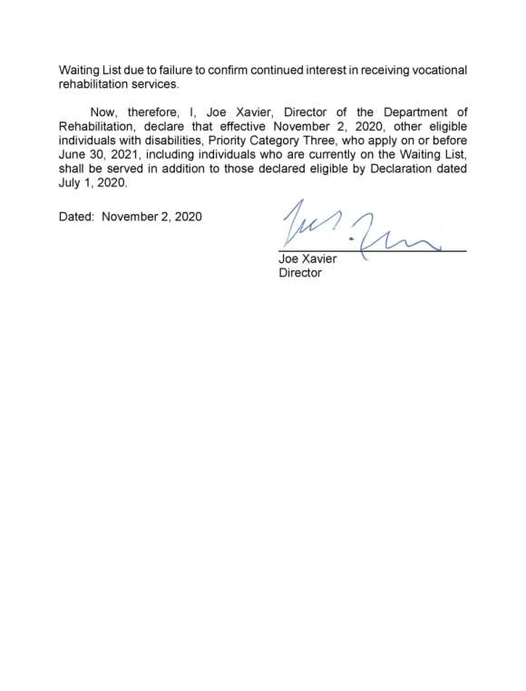 Second page of Declaration of Order of Selection for Vocational Rehabilitation Services issued June 30, 2020. Content of this page included in the post.